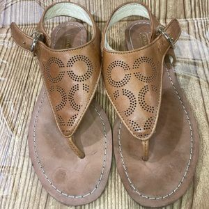 Women's coach flat brown leather sandals size 6.
